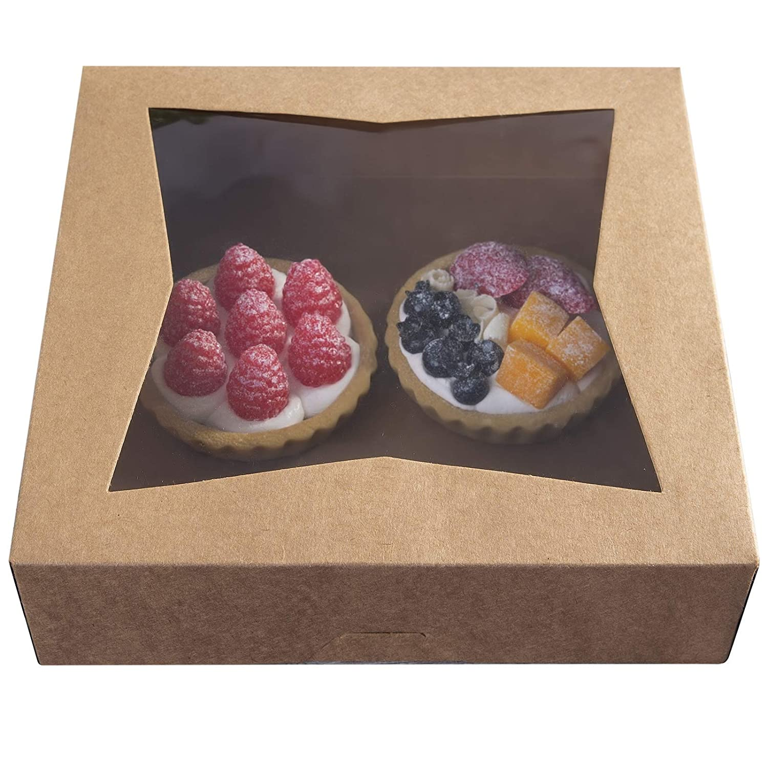 [15pcs]9Brown Cookie Bakery Boxes,Large Kraft Paperboard Pie Boxes with Auto-Popup Window Disposable Pastries Box 9x9x2.5inch,Pack of 15