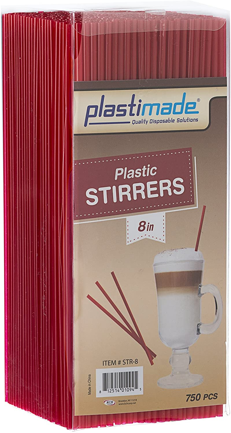 [750 Count] Plastimade Red Colored 8 inch Plastic Disposable Drink Stirrers For Home, Office, Wedding, Events, Parties, Take Out, Cocktails, Coffee, Tea, Cafes. (1 Pack)
