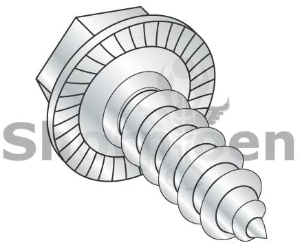 8-18X1/2 Unslotted Indented Hex Washer Serrated Self Tap Screw Type AB Full Thrd ZincBake - Box Quantity 10000 by Shorpioen BC-0808ABWS