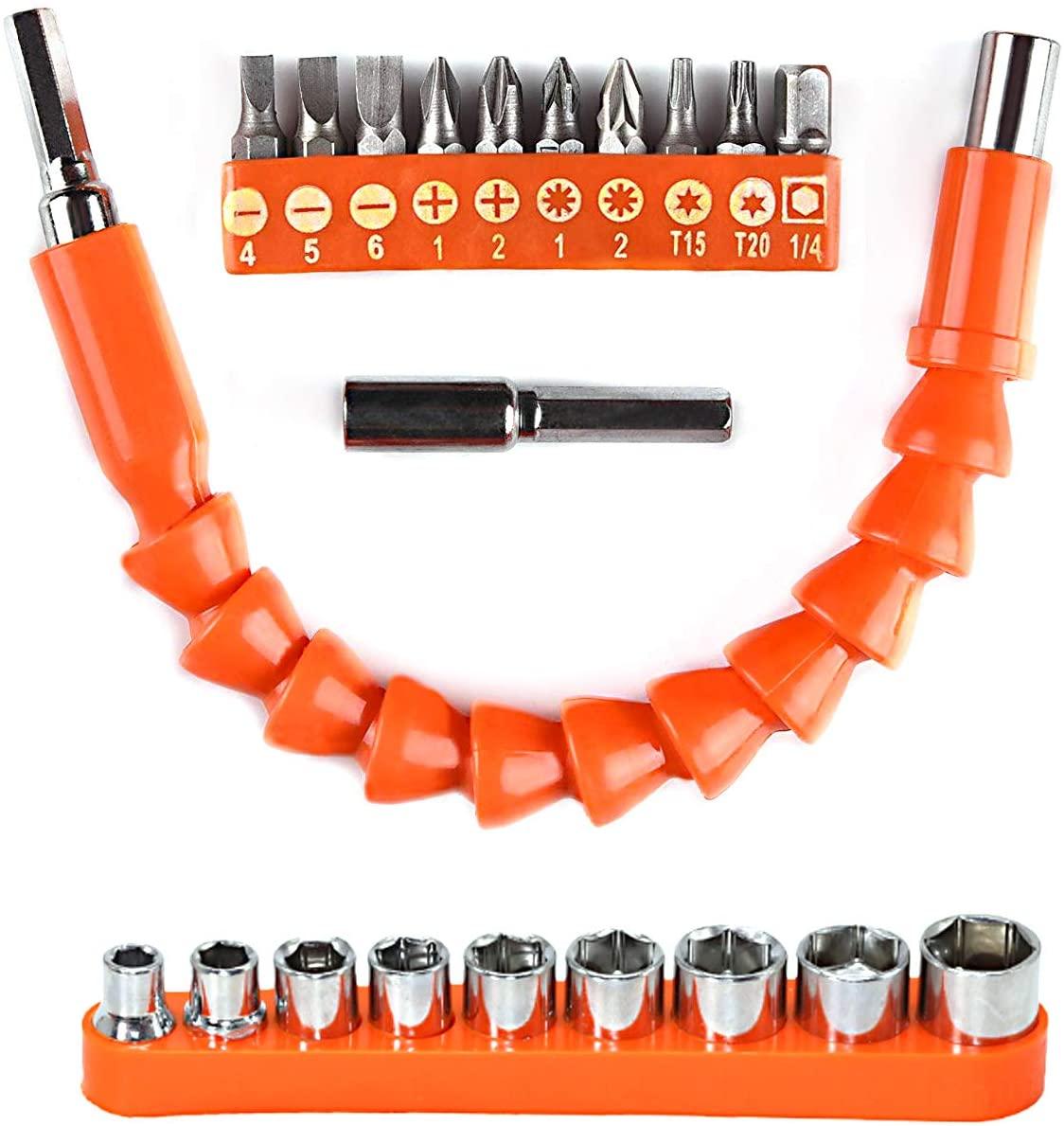 YIOYULEN Flexible Drill Bit Extension Kit, Flexible Soft Shaft Extension Screwdriver Bits Universal Nut Electric Drill Bit Power Hand Repair DIY Tools Accessories with Drill Bit Set (21 PCS)