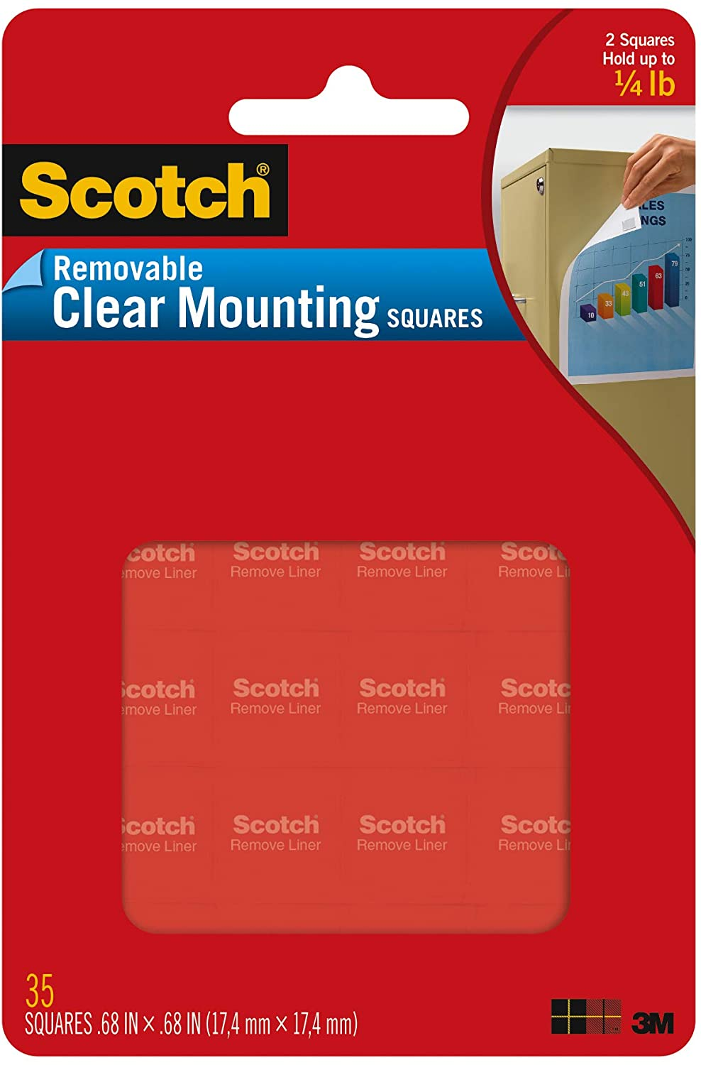 Scotch Removable Mounting Squares, 0.68 in x 0.68 in, Clear, Ideal for Papers, Folders, Cards, and More (859)