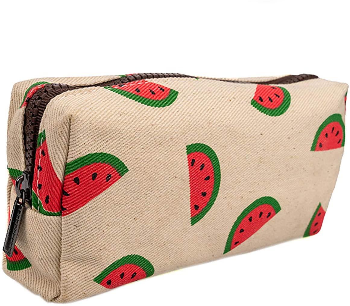 LParkin Watermelon Students Super Large Capacity Cute Canvas Pencil Case for Girls Pen Bag Pouch Stationary Case Gadget Makeup Cosmetic Bag Box