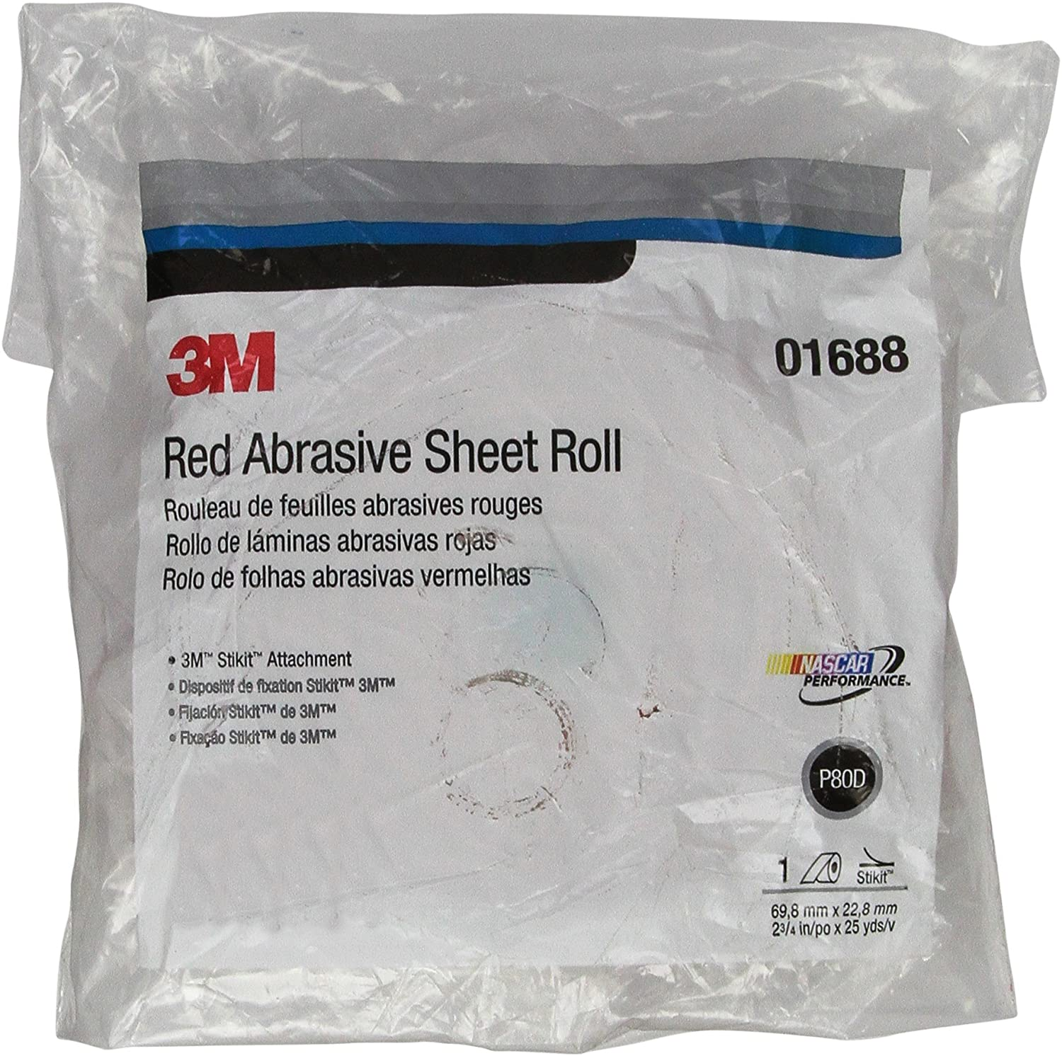 3M Red Abrasive Stikit Sheet Roll, 01688, P80, 2-3/4 in x 25 yd, D weight