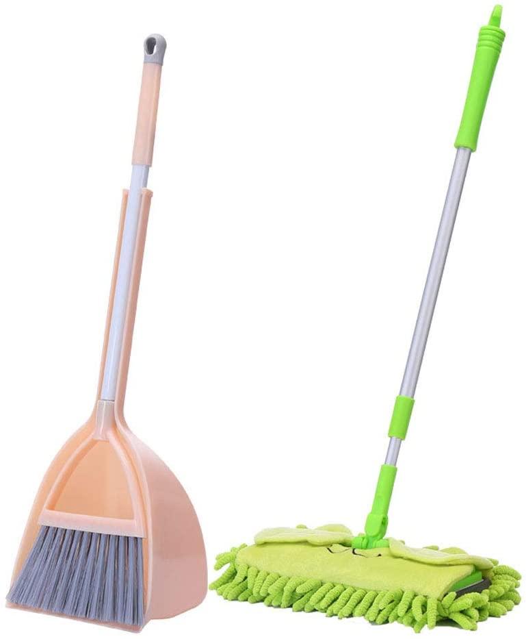 Children's Broom Dustpan Mop Set - Mini Broom Dustpan Set Kindergarten Cleaning Broom - Indoor Children's Housekeeping Toy Cleaning Kit - Orange And Green