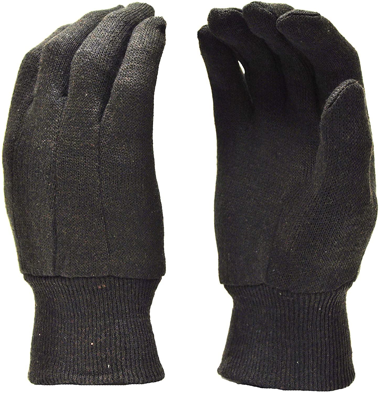 G & F 4408 Heavy Weight 9OZ. Brown Jersey Work Gloves, Knit Wrist, Sold by Dozen (12-Pairs) - Large