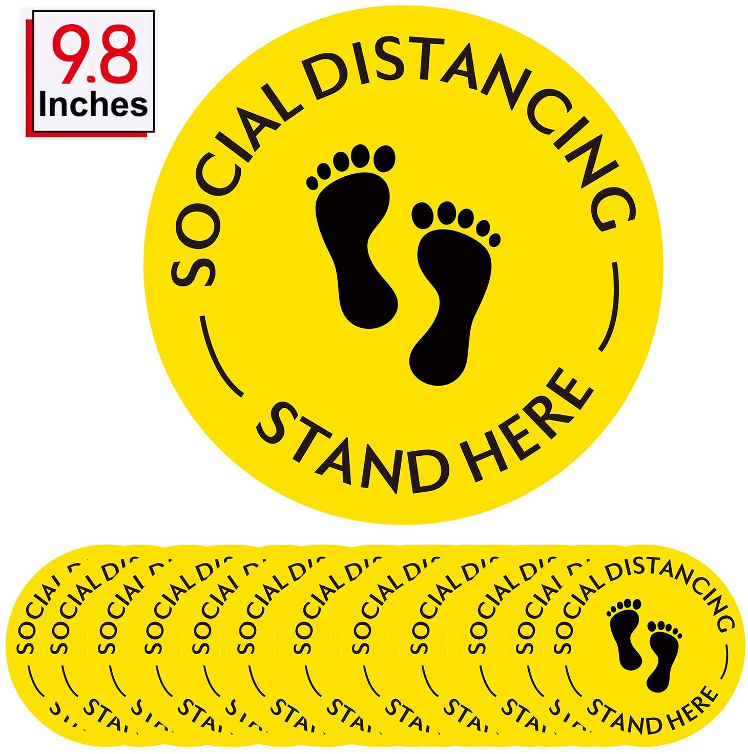 9.8 Inch High Visibility Social Distancing Floor Sticker Decals Safety Floor Sign Marker 6 Feet Social Distancing Floor Signs (10)