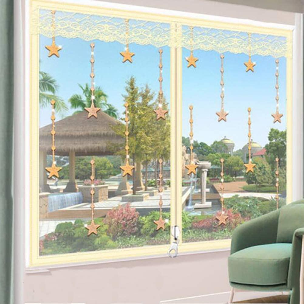 Magic Tape Self-Adhesive Punch Free Gauze Window,Insect Fly Window Screen Net Mesh,Anti Mosquito Window Screen Mesh Beige 110x150cm(43x59inch)
