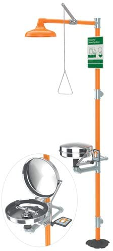 Guardian Equipment G1902BC - Safety Station with Eyewash - Floor Mount, Push Flag Activation, Stainless Steel Bowl Material