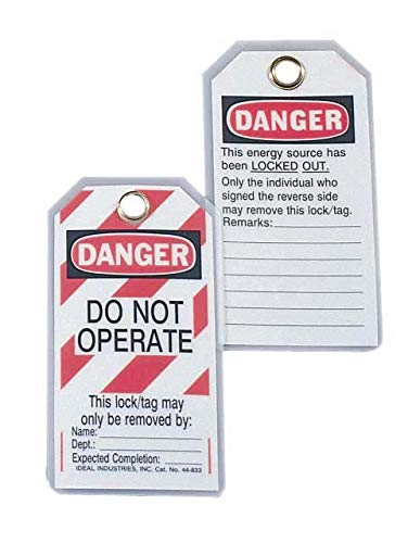 Ideal 44-849 Heavy-Duty Lockout Tags - in. Do Not Operate in, Red Striped Background