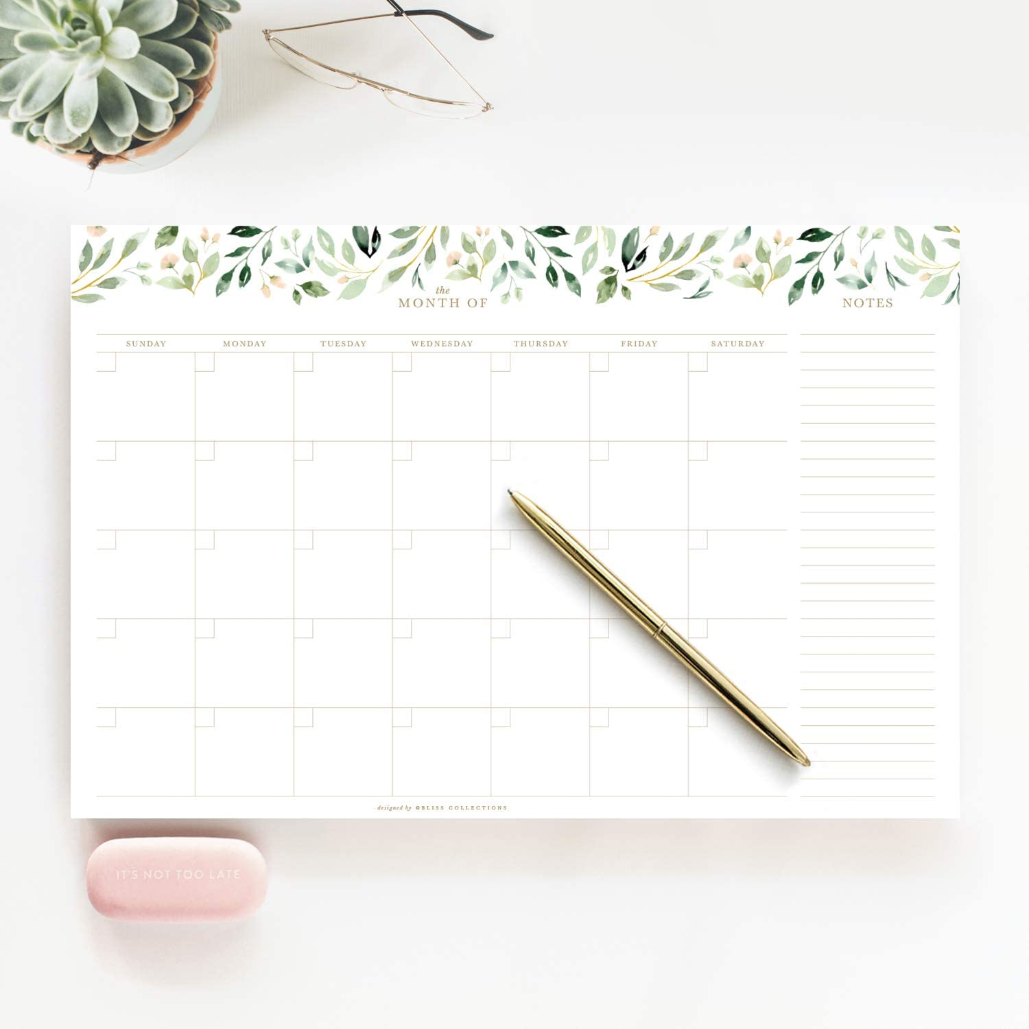 Bliss Collections Monthly Planner with 18 Undated 12 x 18 Tear-Off Sheets - Greenery Planner, Organizer, Scheduler, Productivity Tracker for Organizing Tasks, Ideas, Notes and More!