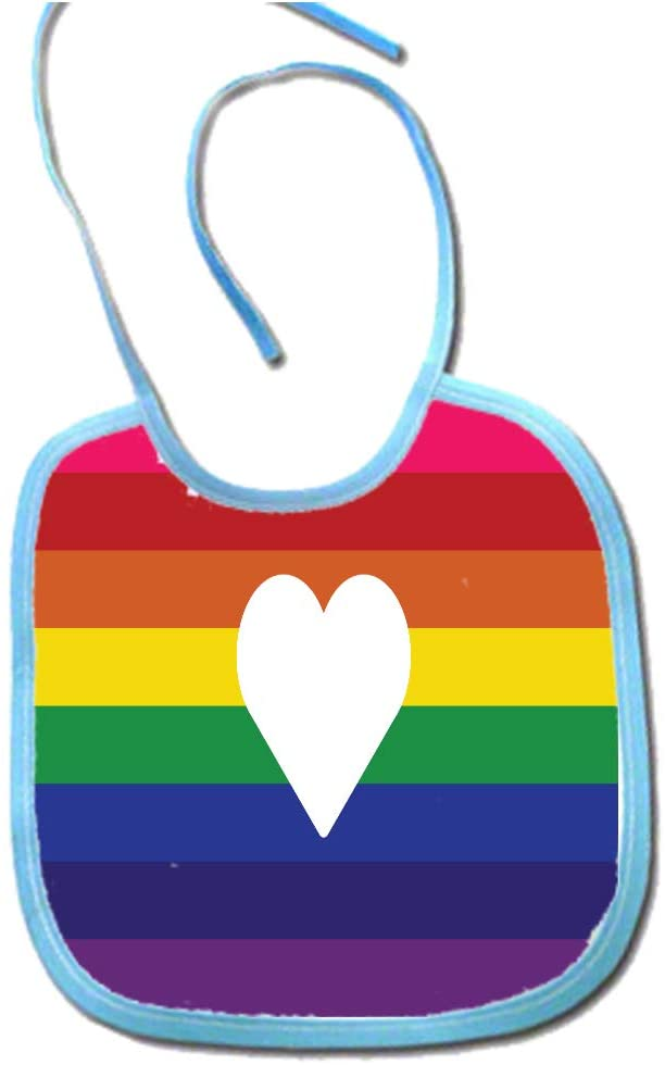 Love Wins Marriage Equality LGBT Pride Heart Polyester 9x8 Baby Bib