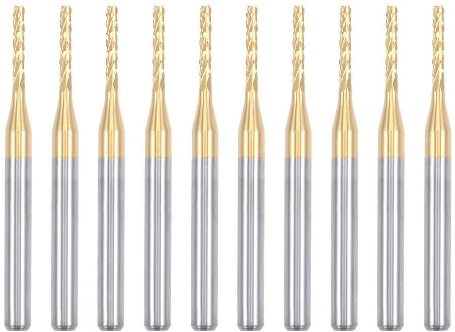 Nxtop 10Pcs 1.5mm Titanium Coat Carbide End Mill Engraving Milling Cutter CNC Router Bits for PCB Machine, 1/8