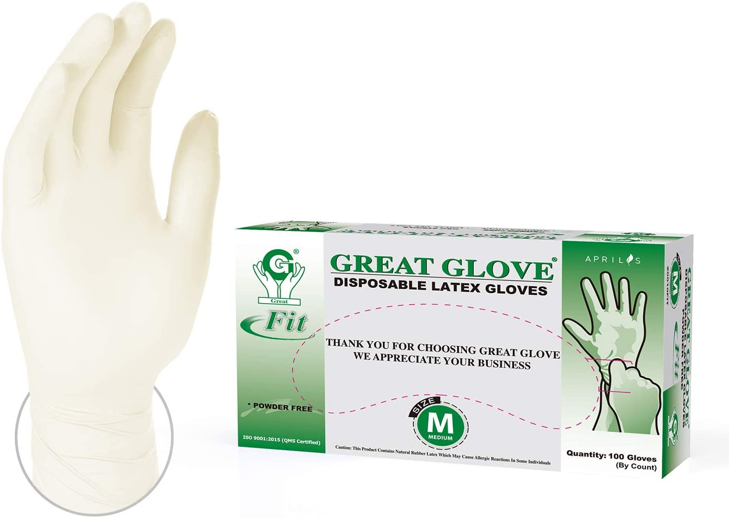 Aprilis Disposable Latex Gloves Pack of 100, Powder Free Protective Glove for Kitchen Cooking Cleaning, White (Medium)