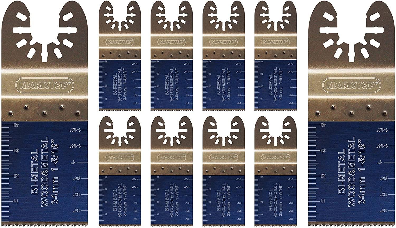 Marktop 10 Piece 1-3/8 inch (35mm) Bi-Metal Oscillating blades for Wood and Metal