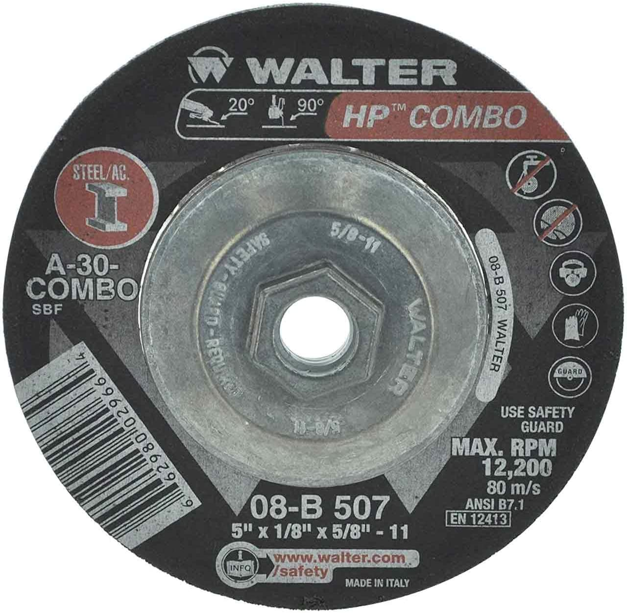 Walter 08B507 5x1/8x5/8-11 HP Combo Spin-On Metal Hub High Performance Cutting Grinding Wheels Type 27S Grade A-24, 10 pack