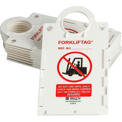 Brady FLT-ETSH9, 104128 11.5 x 6 Plastic ForkliftTag Tag Holder, Black/Red on White, 4 Boxes of 10 pcs