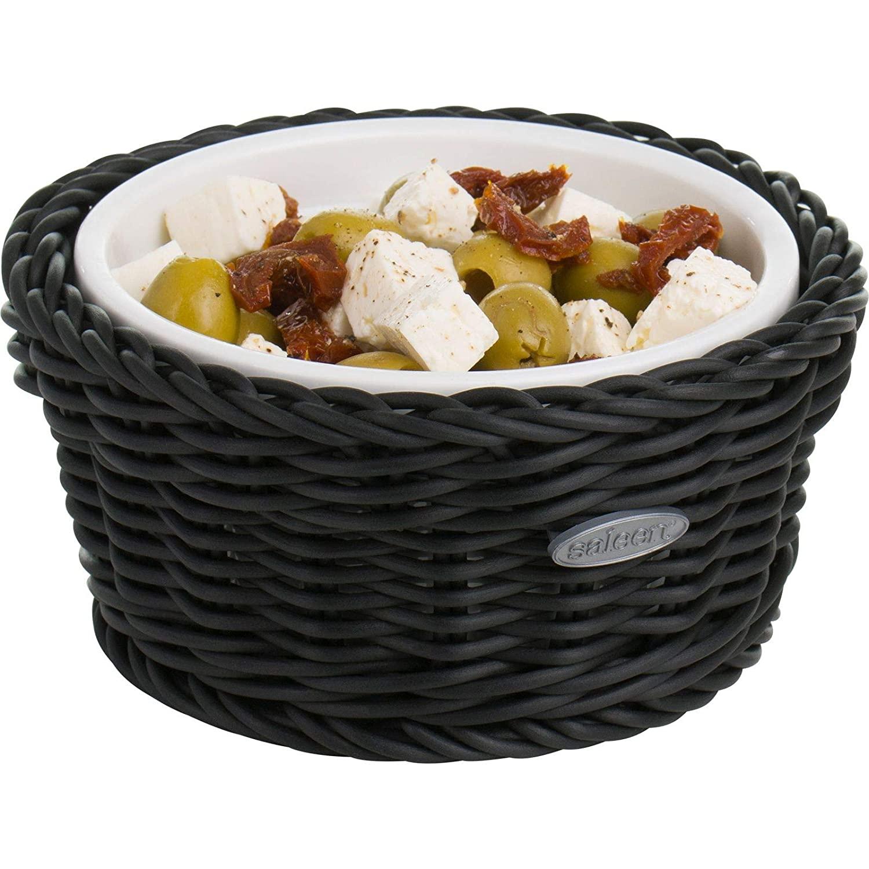Saleen 02100619160 Round Wicker Basket with Porcelain Bowl Insert, Black