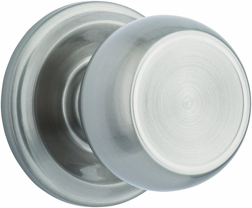 Brinks Push Pull Rotate Door Locks Stafford Passage Hall/Closet Knob, Satin Nickel, 23041-119