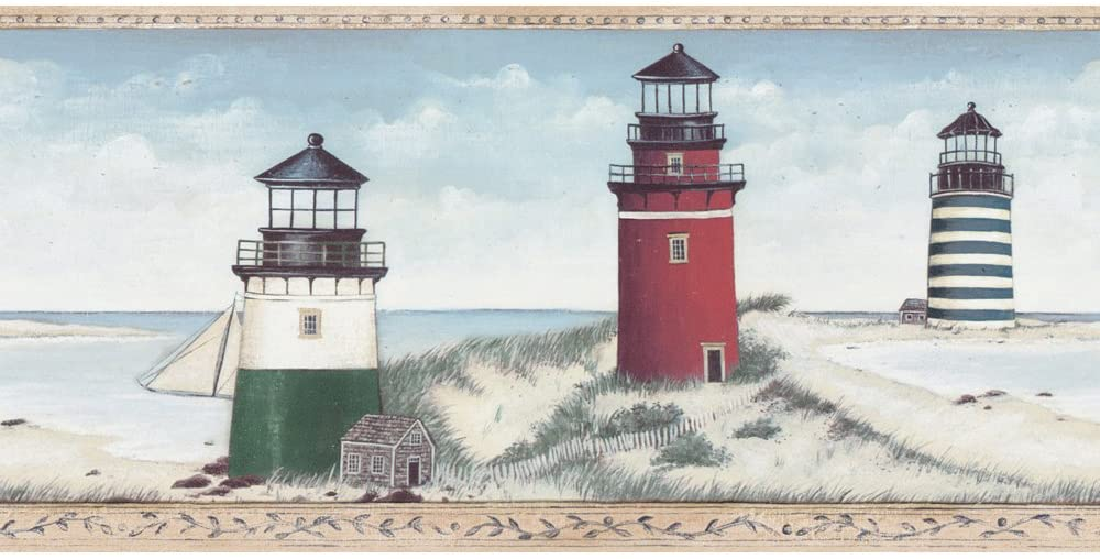 Decorate By Color Blue Lighthouse Border BC1580789