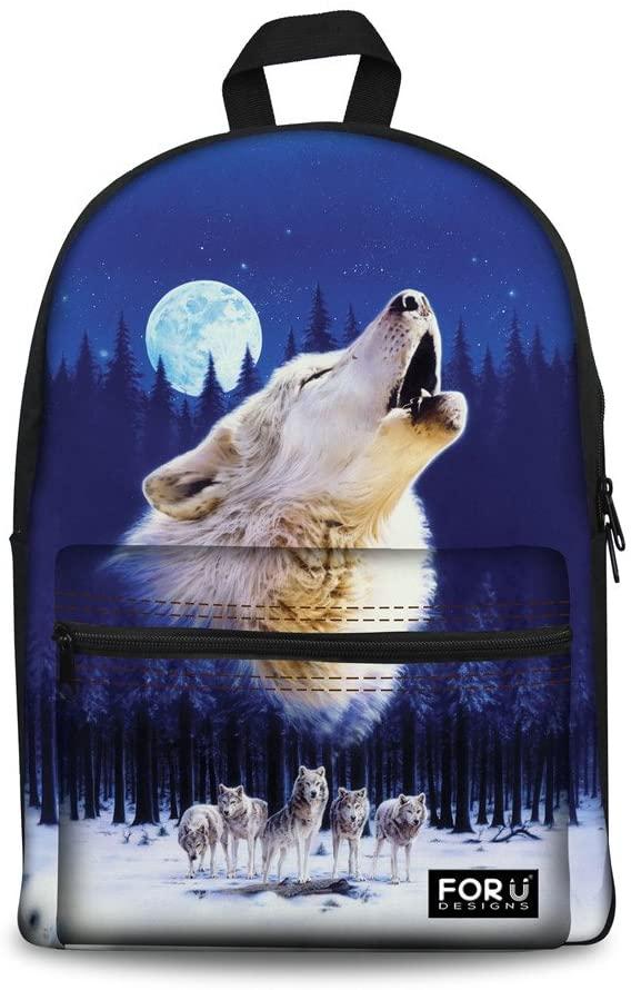 Bigcardesigns Cool Wolf Canvas Bookbag School Laptop Backpack for Men Boys