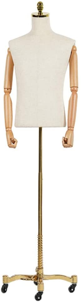HAIPENG Male Mannequin Torso Body Busts Manikin with Solid Wood Arms and Golden Universal Casters for Clothing Display Movable (Color : C, Size : L)