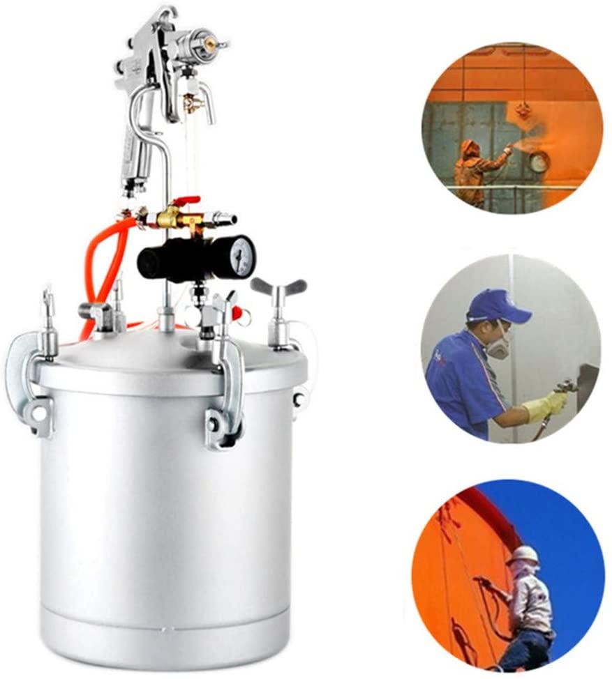 YUNSHINE Pressure Spray Gun, Auto Car Pot Air Paint Spray Gun Pressure Painting Painter Gun with 10L Pressure Pot Hose Painting Tools (3 Calibers Optional)