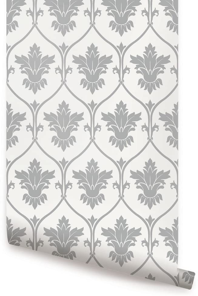 Damask Wallpaper - Grey - 2 ft x 4 ft - Single - by Simple Shapes