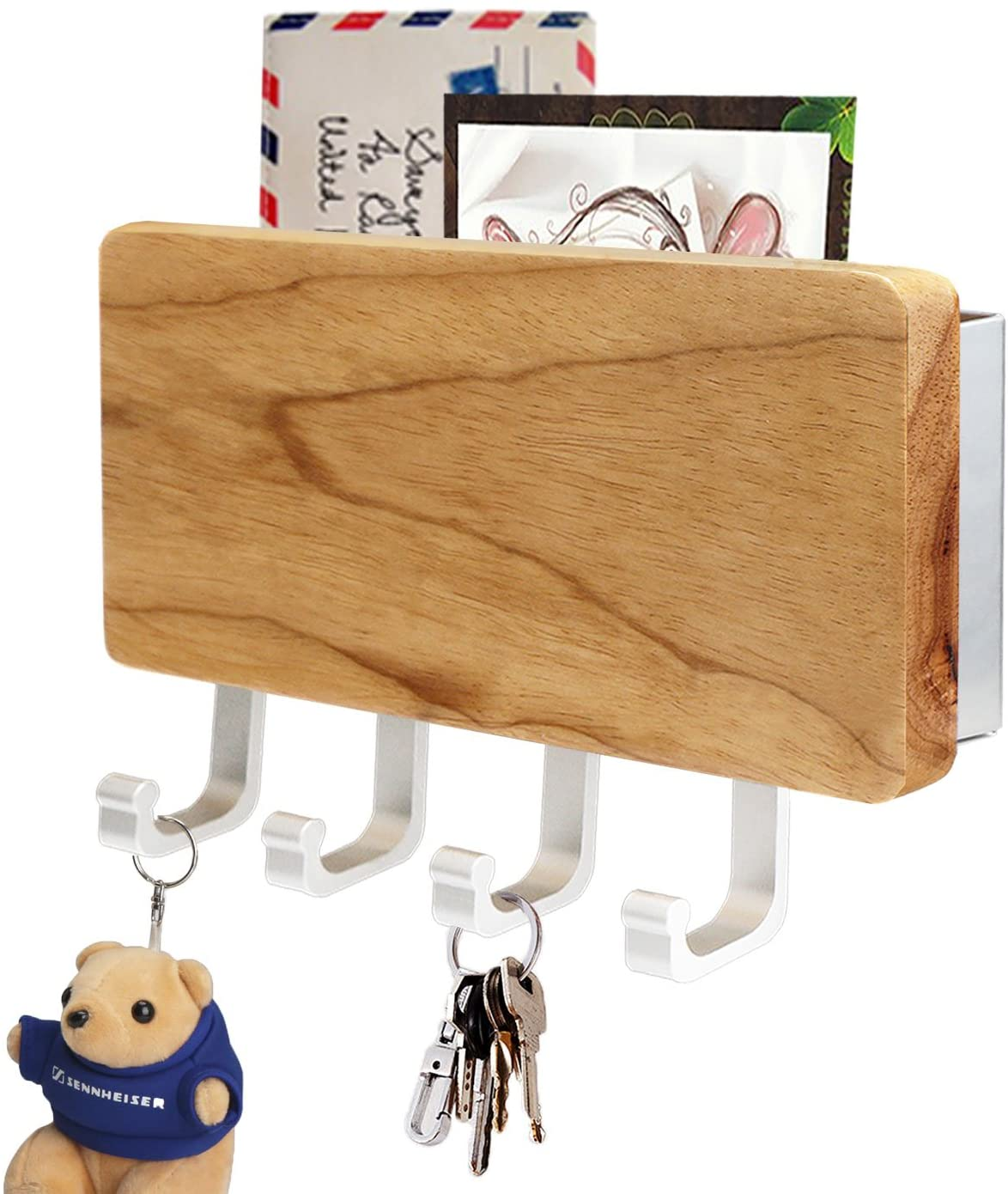 Wooden Key Holder, Segarty Wood Key Hooks Decorative for Wall with Shelf, Wall Mounted Key Hangers Keychain Rack Keyholder for Bedroom Bathroom Office Kitchen Entryway Mails Hanging Key Wall Organizer