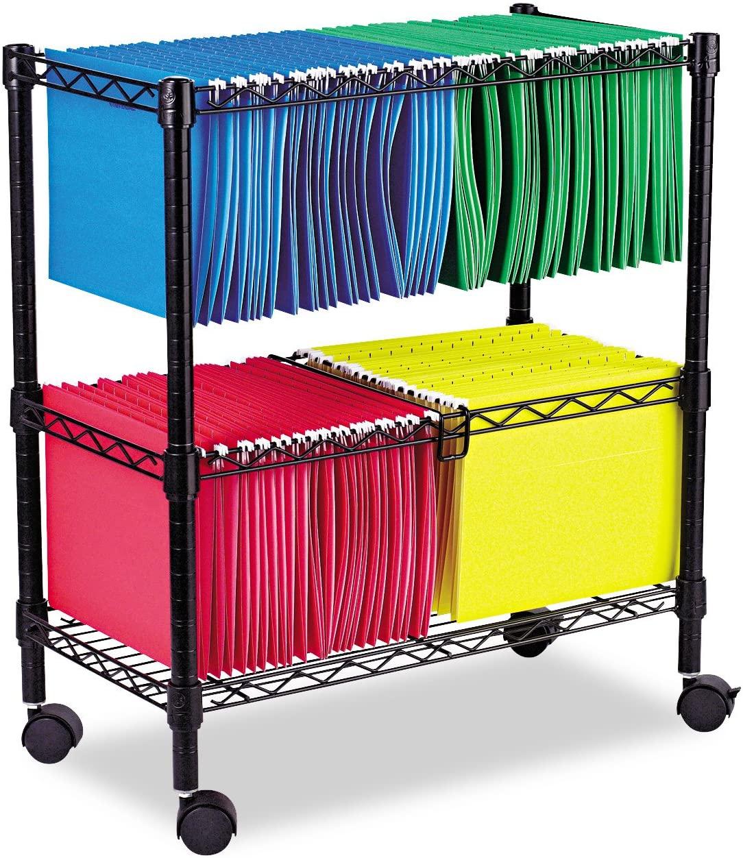 Alera ALE Two-Tier Rolling File Cart, 26w x14d x 29-1/2h, Black