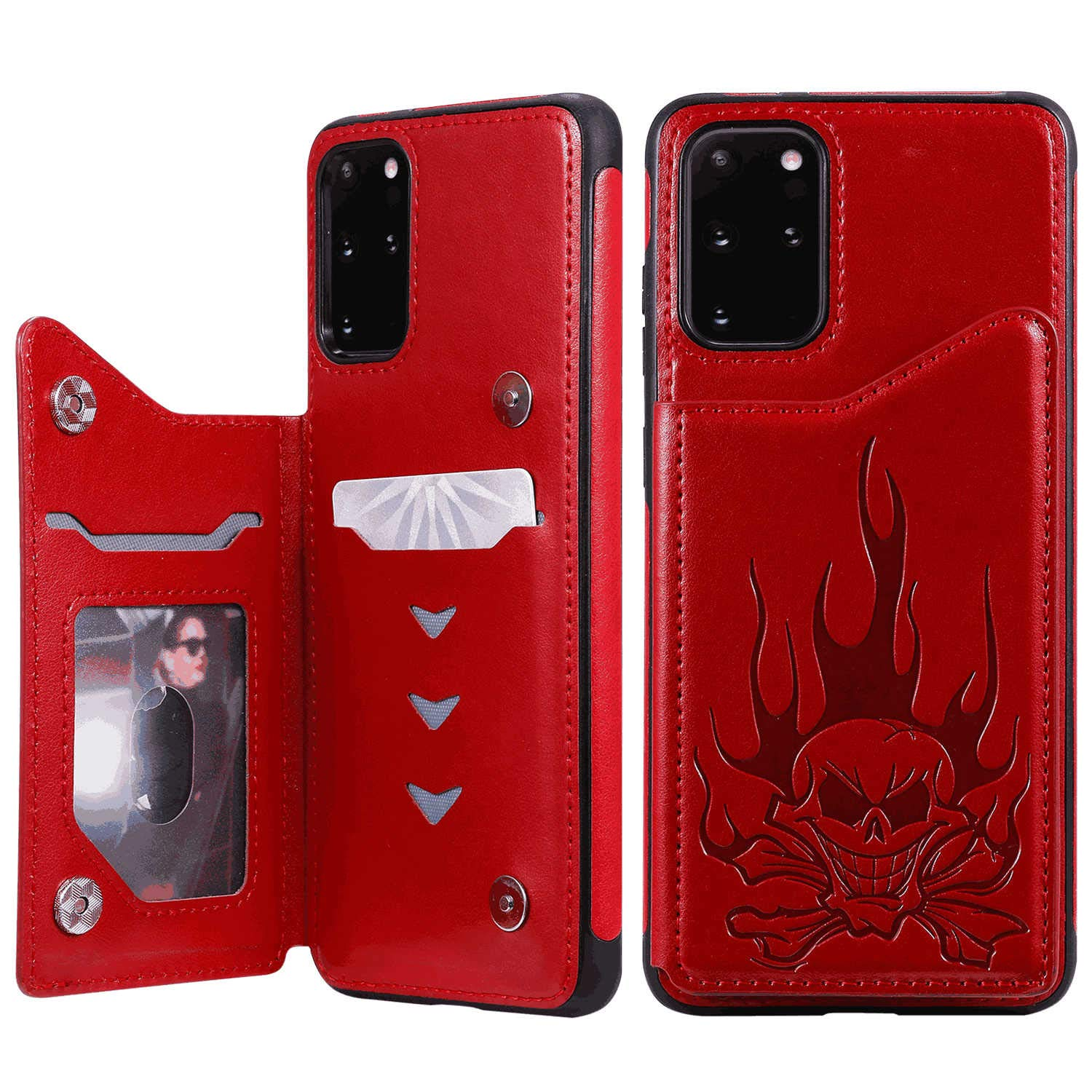 PU Leather Flip Cover Compatible with Samsung Galaxy S20 Ultra, red Wallet Case for Samsung Galaxy S20 Ultra