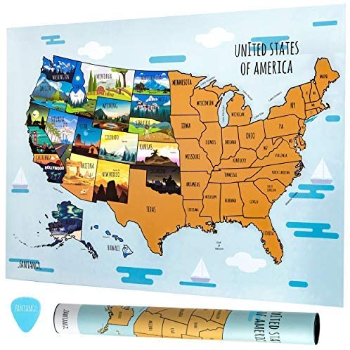 Fantango Scratch Off USA Map - 18x24 Inch Travel Map with Scratching Pick - Track North America Adventure - Scratch Off Map Poster with 50 States Landmarks & Capitals