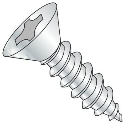 1/4-14 x 1 Self Tapping Screws - Sheet Metal Screws, Type AB, Steel, Zinc Plating, Flat Head, Phillips Drive (Quantity: 2700 pcs)