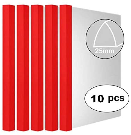 Clear Report Covers with Solid Color 25mm Sliding Bar (20C, 200-sheet Capacity), Transparent Resume Presentation File Folders Organizer Binder, for Letter/A4 Size Paper, 10 Pcs, Solid Red