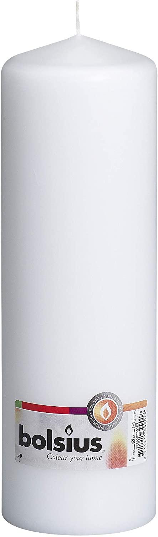 Ivyline Bolsius Pillar Candle Large, White 80 mm Width