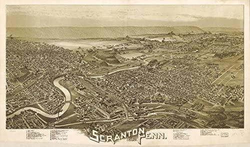 Imagekind Wall Art Print Entitled Vintage Pictorial Map of Scranton PA (1890) by Alleycatshirts @Zazzle   16 x 9