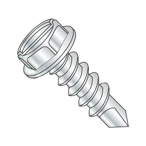 #14 x 1/2 Self-Drilling Screws/Slotted/Hex Washer Head/Steel/Zinc / #3 Drill Point (Carton: 4,000 pcs)