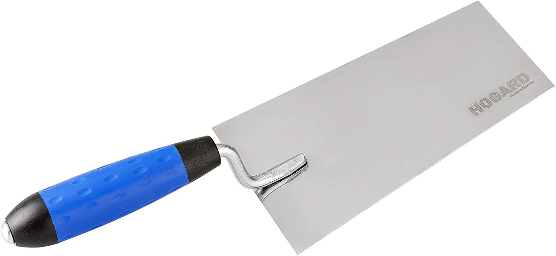 HOGARD Bucket Trowel Premium Stainless Steel Flat Masonry Brick Tool Soft Grip Handle Made in EU, 5.5 inch (140 mm)