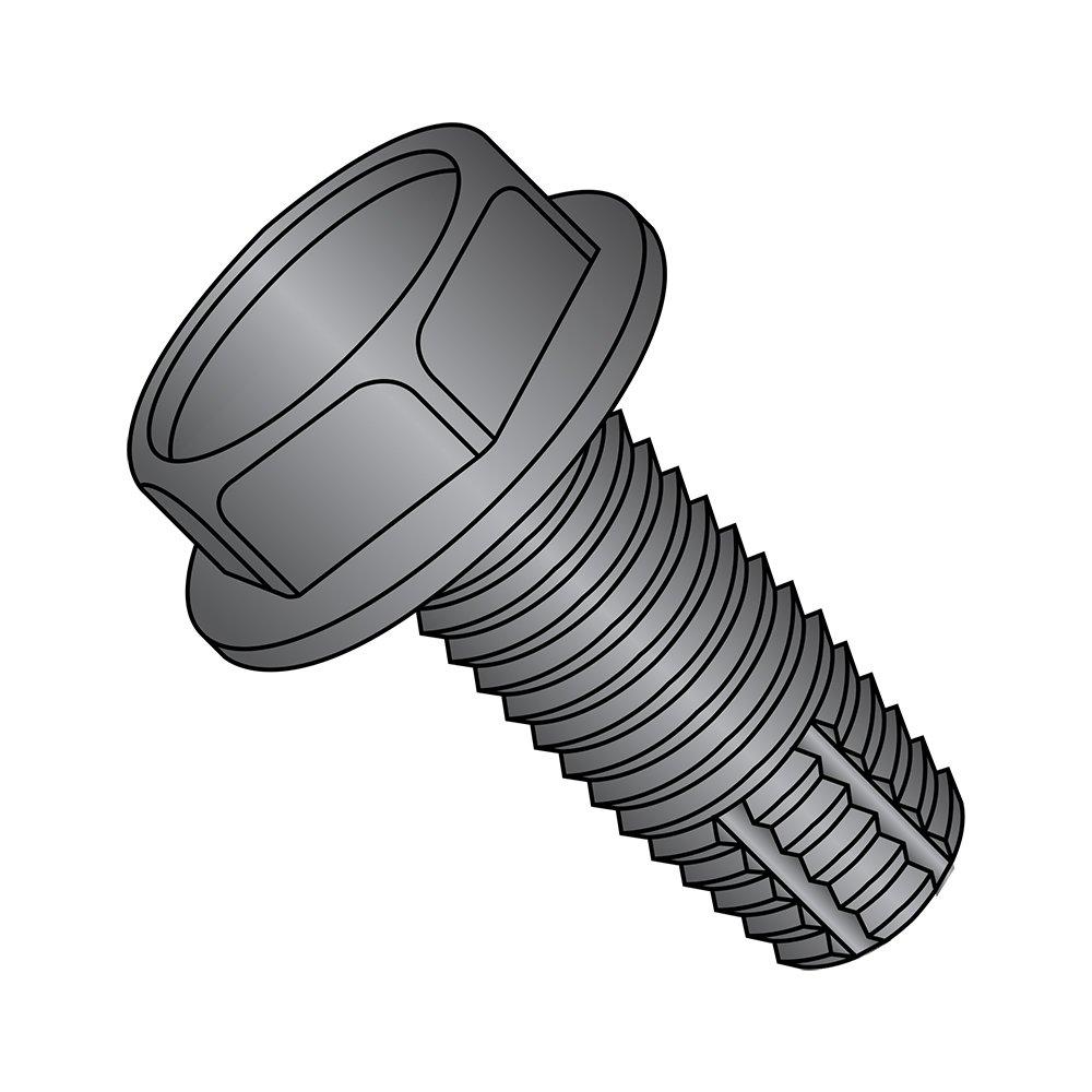 Steel Thread Cutting Screw, Black Oxide Finish, Hex Washer Head, Type F, 1/4