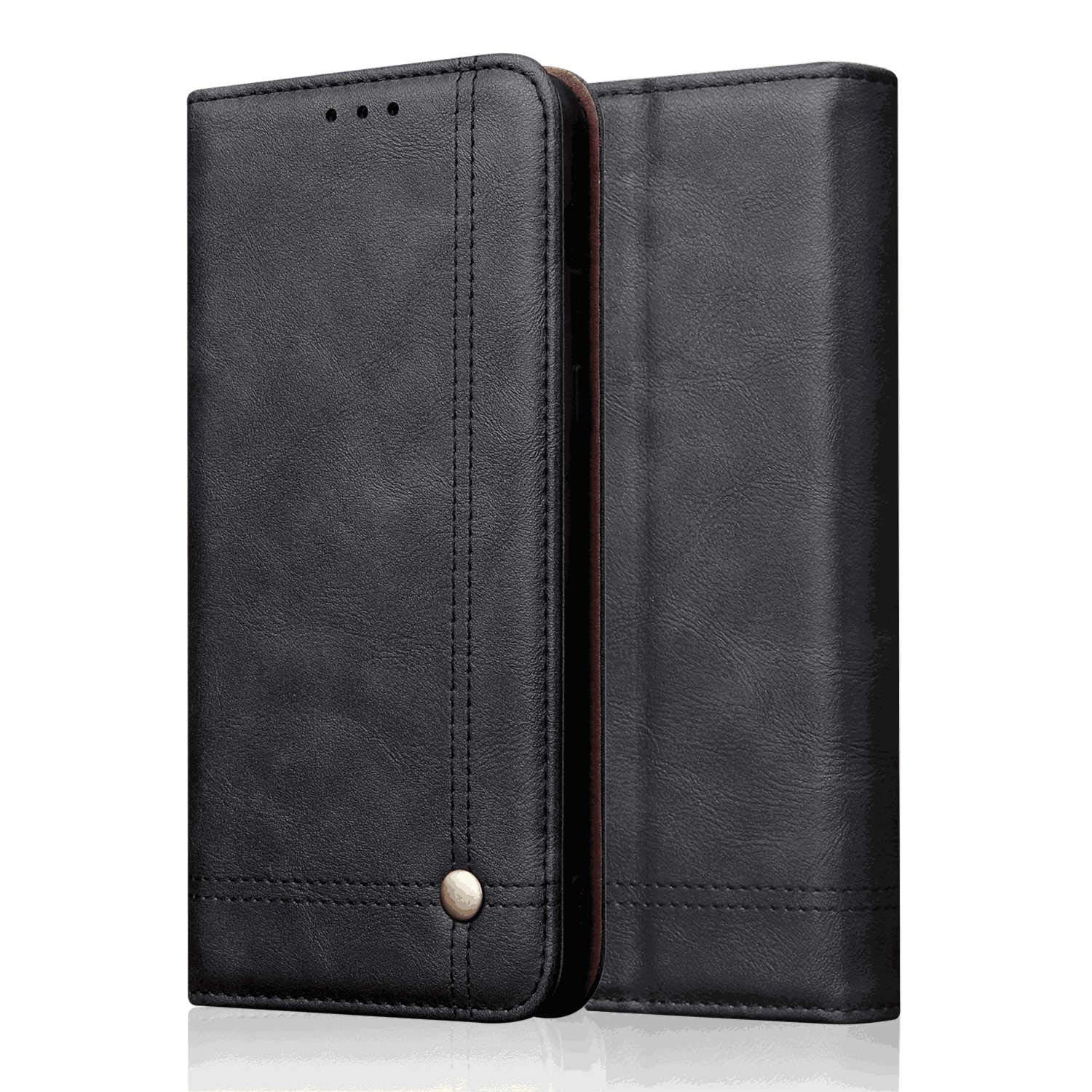 PU Leather Flip Cover Compatible with Samsung Galaxy S10e, Black Wallet Case for Samsung Galaxy S10e