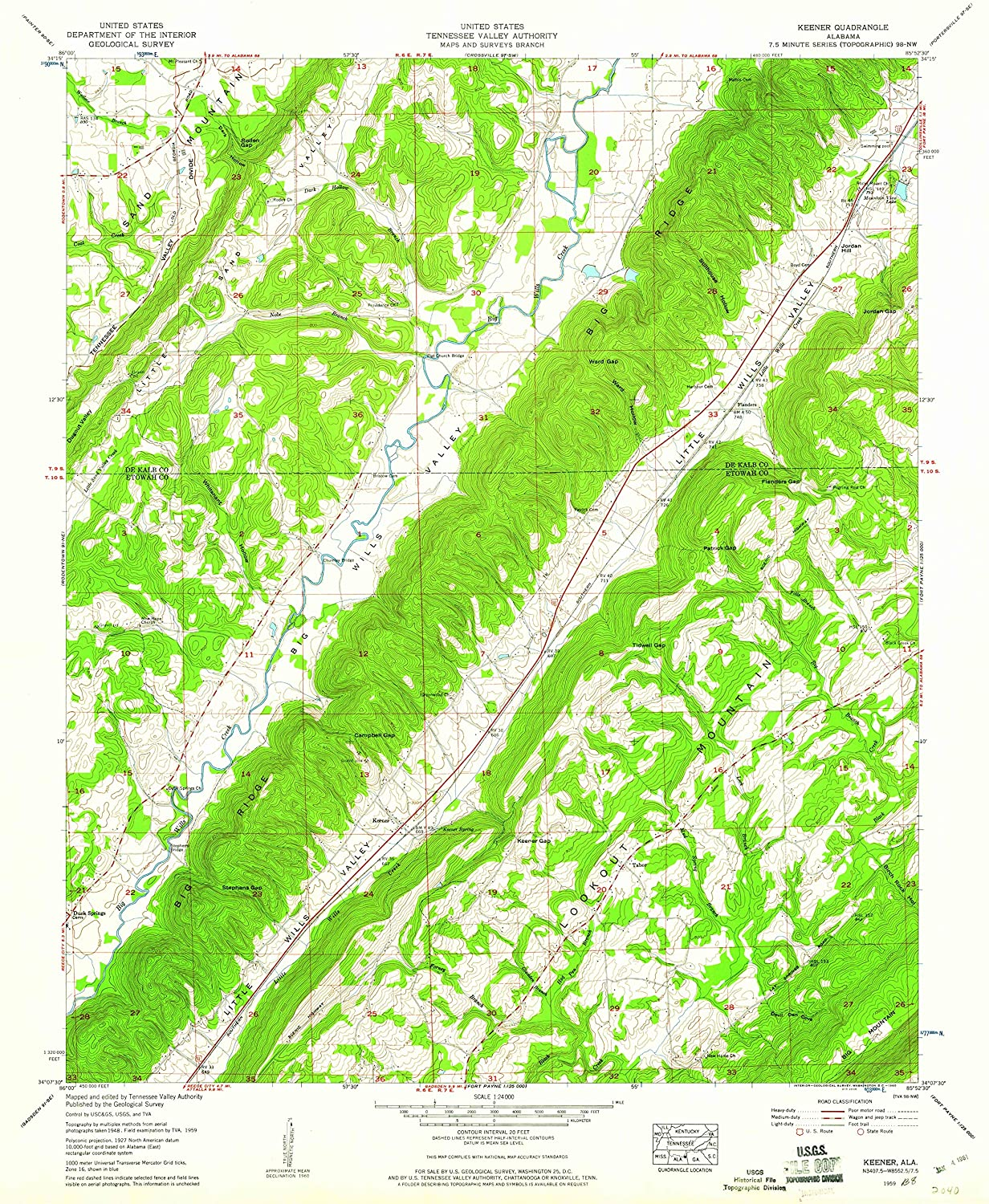 Map Print - Keener, Alabama (1959), 1:24000 Scale - 24