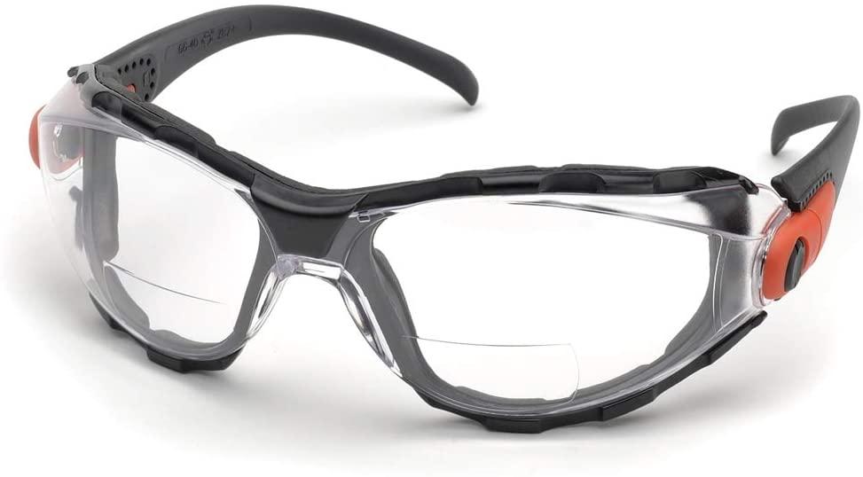 Elvex Go-Specs Safety Glasses-Black Foam Lined Frame-Clear Bifocal Anti-Fog Lens (Pair) - RX-GG-40C-AF-2.5