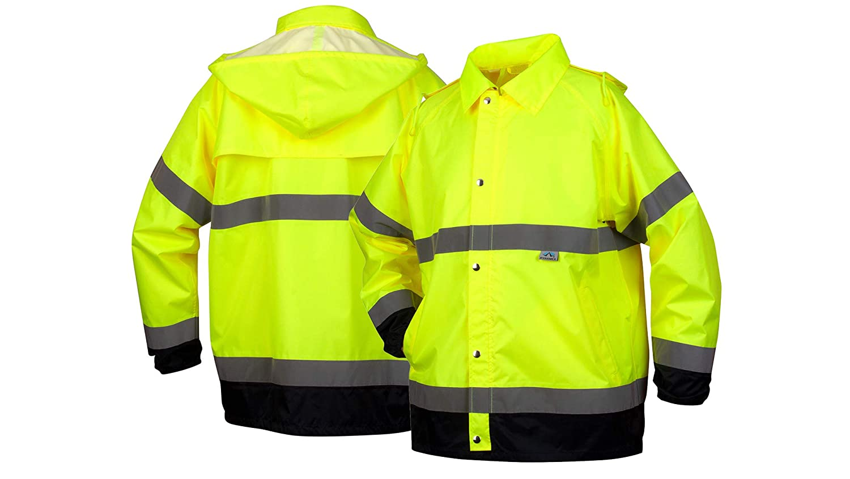 Pyramex Hi-Vis Rainwear Waterproof Rain Work Safety Jacket, 3X-Large