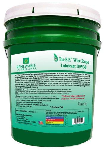 Renewable Lubricants 82624 Bio-EP Wire Rope Lubricant SAE 10W30 5 Gallon