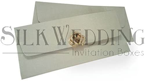 Glamorous Hand Made Silk Envelope In White With Shimmering Clasp