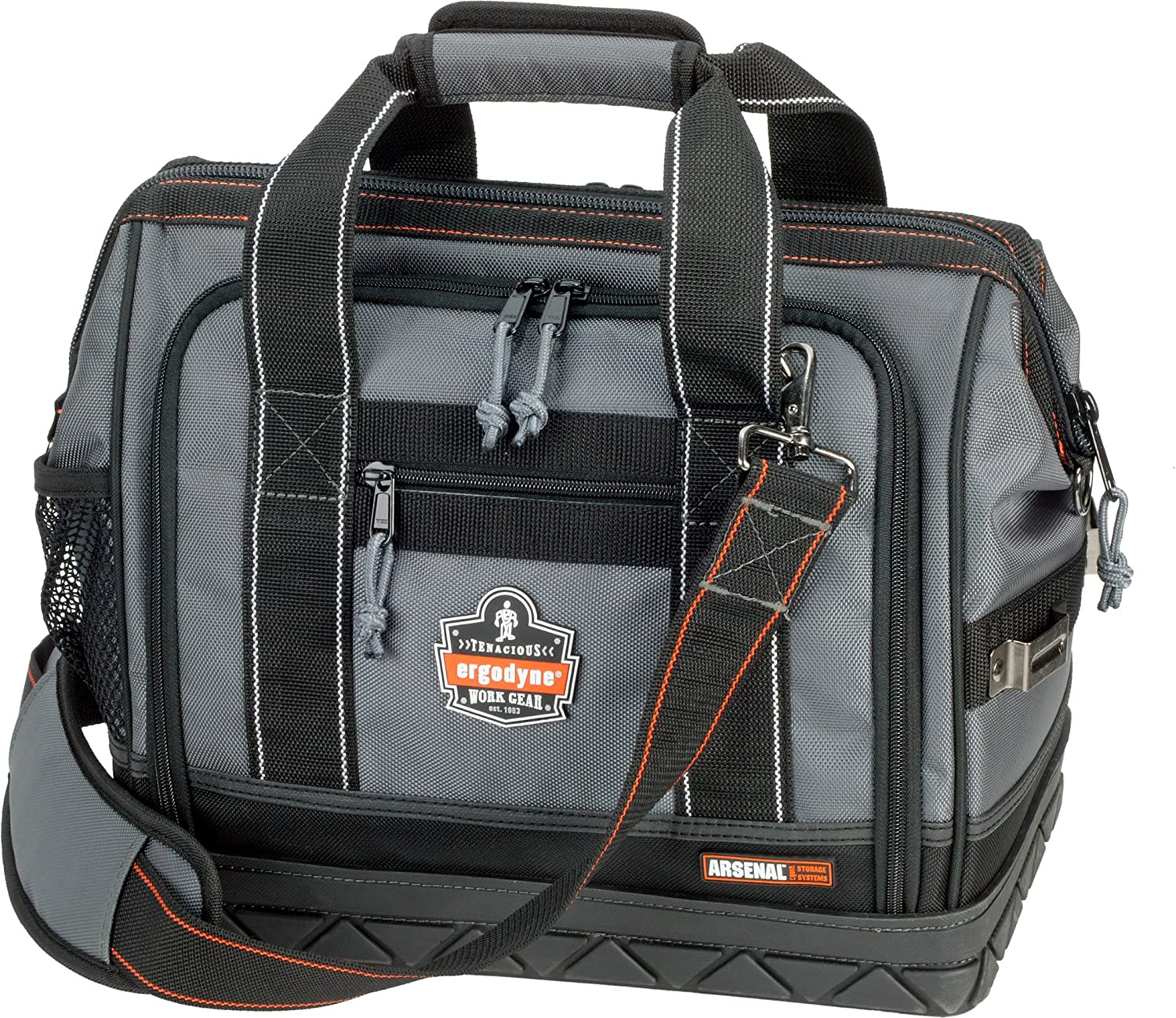 Ergodyne Arsenal 5817 Tool Bag, Zip Open Sides, 61-Pockets, Medium,Gray