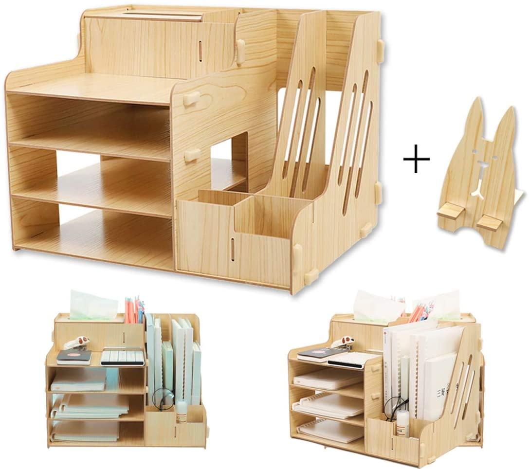 SCRENE Fibreboard Office Desk Organizer Set & Accessories, Multi-Functional DIY Pen Holder Box, Desktop Stationary, Paper Filer Trays Organization, Home Office Supply Storage Rack for Kid Men Women