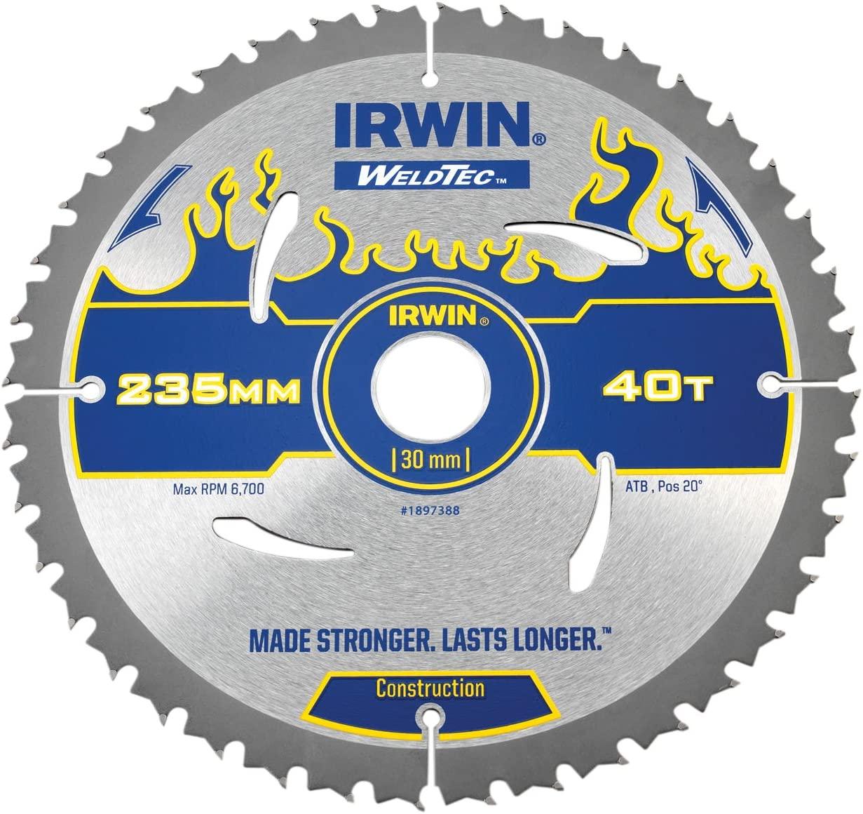 Irwin Tools - Weldtec Circular Saw Blade 235 x 30mm x 40T ATB