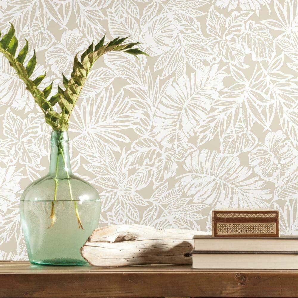 RoomMates Beige Batik Tropical Leaf Peel and Stick Wallpaper