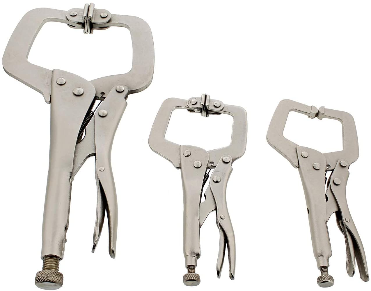 DCT C Clamps for Woodworking Welding Clamps Locking Pliers Set 3-Piece Wood Clamp Set, 11in and 6in Swivel Tip