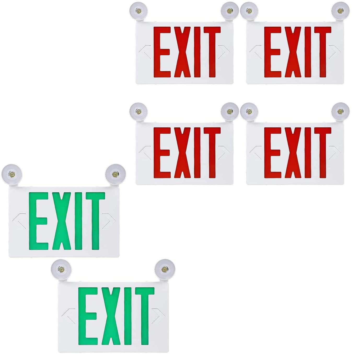 TORCHSTAR LED Green Exit Sign Bundle LED Red Exit Sign, 2-Pack UL Listed Double Face Emergency Light with 2 Adjustable Heads & 4-Pack UL Listed Battery Backup Emergency Light with 2 Adjustable Heads